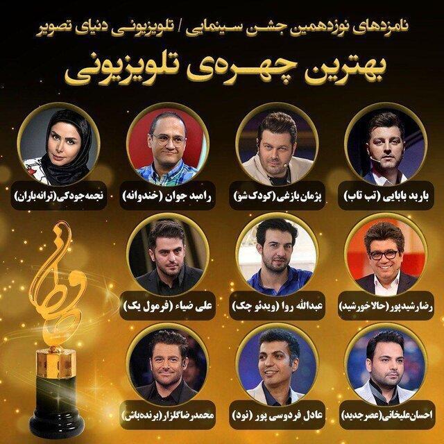معرفی نامزدهای جایزه بهترین چهره تلویزیونی نوزدهمین جشن حافظ ، از فردوسی پور تا رامبد جوان